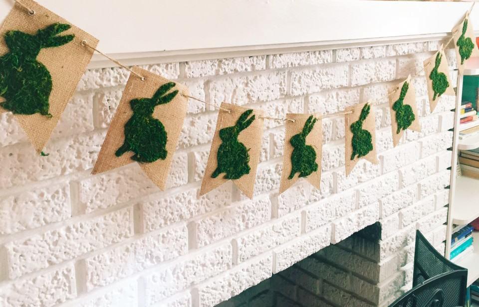 Spring decor / Easter decor Moss Bunny banner