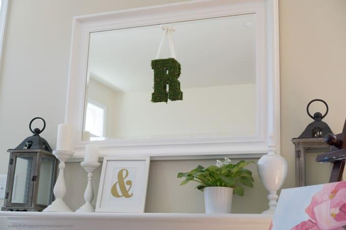 diy farmhouse decor: moss letter monogram