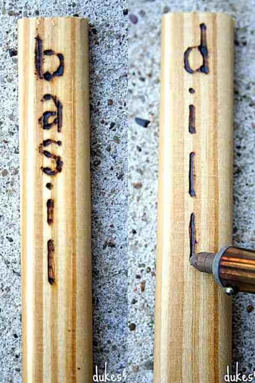 Garden markers. Garden decor. Wood burned garden markers