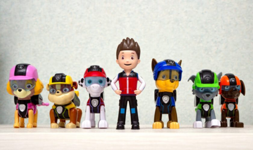 Minsk, Belarus – September 1, 2020: Paw patrol team team standing in a row. miniatures of heroes of the animated series