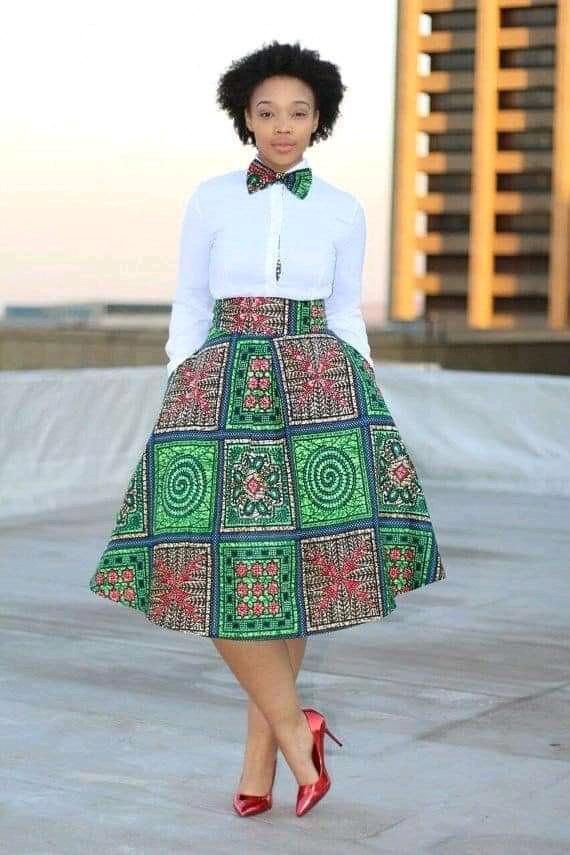 Ankara skirt with long sleeves