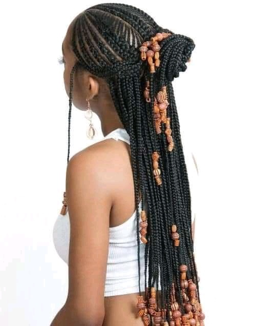 braids and beads with ponytail