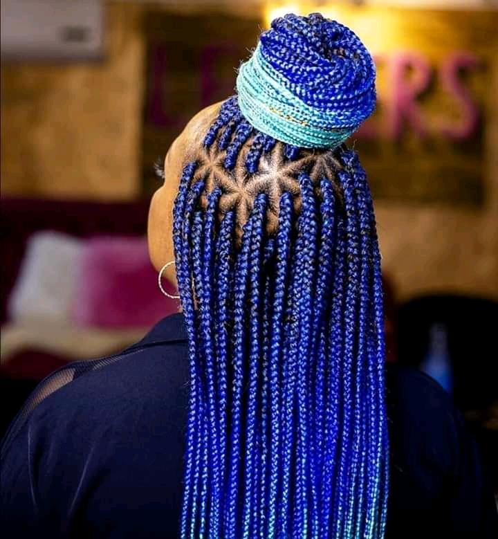 blue knotless braid hairstyles