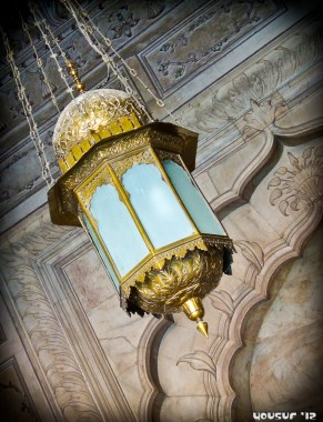 A lamp inside the main prayer hall
