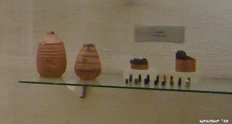 Disposable water goblets and some weights (yes, they had weights back then)
