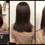 愛知県名古屋市で白髪を染めながら暗めなブラウンベージュが透明感抜群|ゆうこさんの髪色
