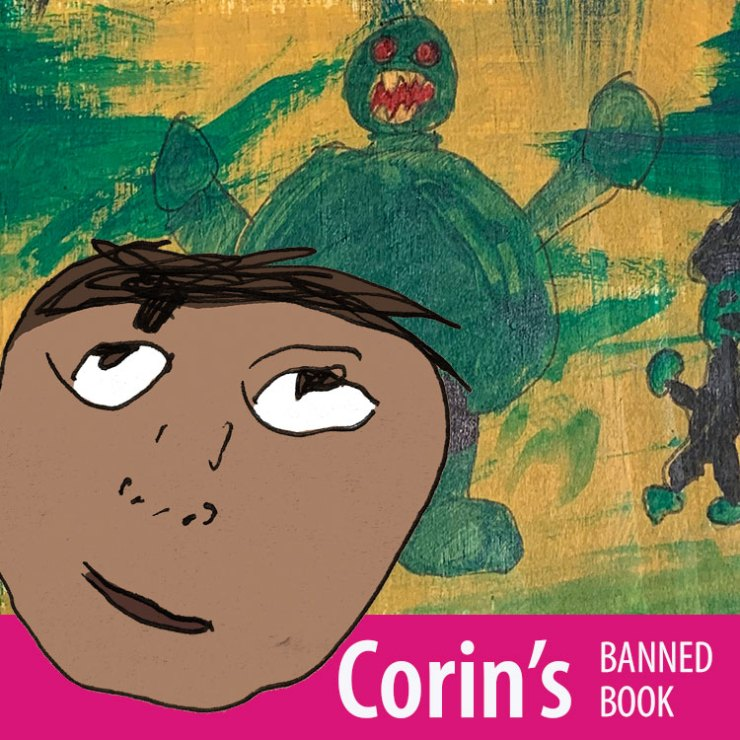 Corin inviting you to look at his banned book poster.