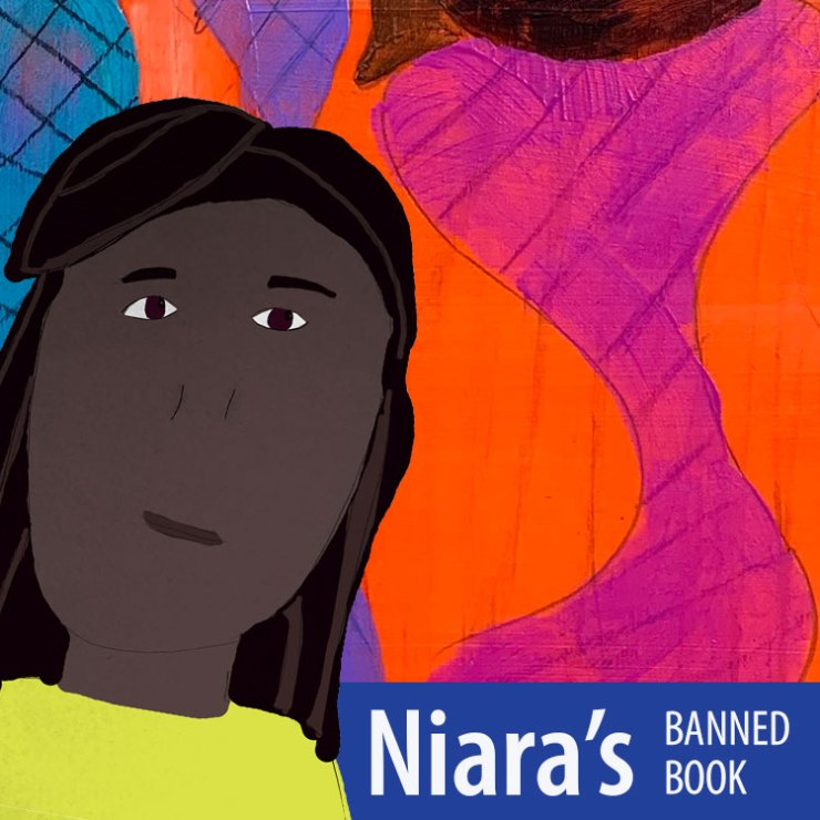 Niara inviting you to look at her banned book poster.