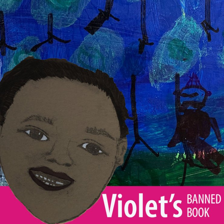 Violet inviting you to look at her banned book poster.