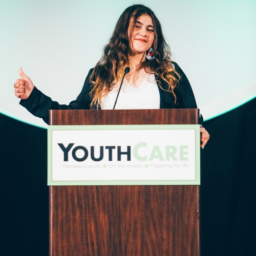 youth speaker at podium during Luncheon 2018