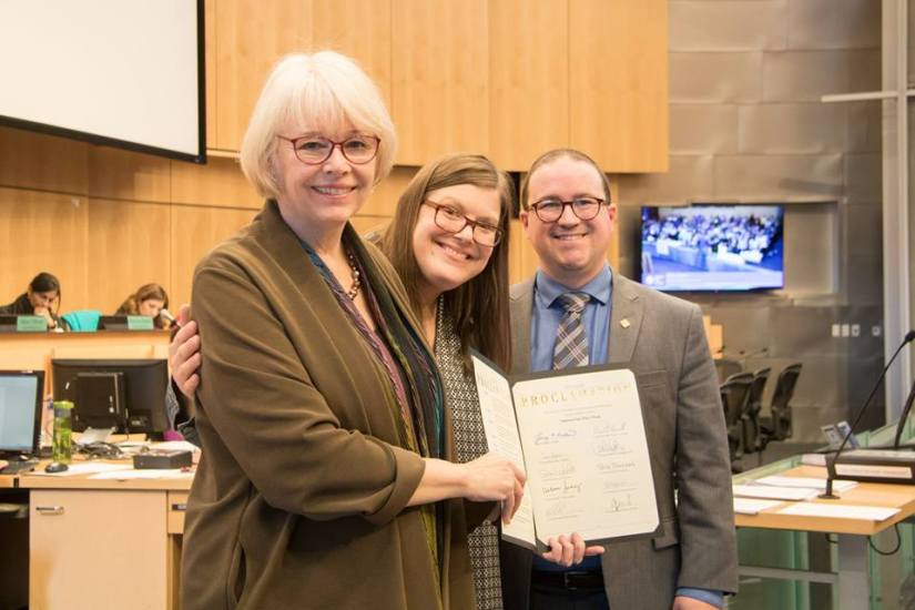 YouthCare accepts proclamation on behalf of YouthCare and Friends of Youth at Seattle City Council meeting