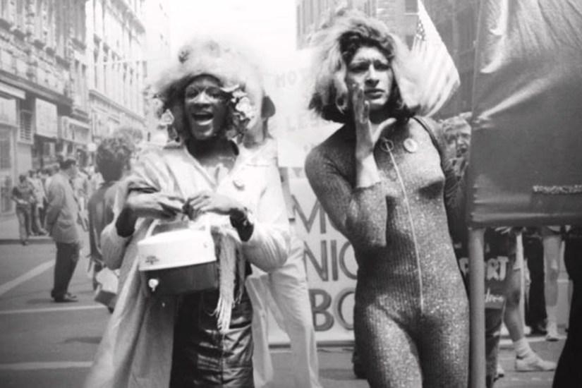 Marsha P. Johnson (left) and Sylvia Rivera march in New York City in 1973.Photo courtesy of Netflix