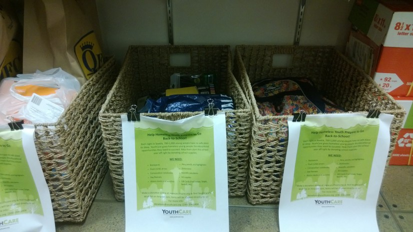 Boxes to collect school supplies for homeless youth