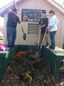 Fue, Samuel, and Zoov find that the compost is still frozen.
