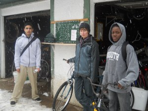 Sergio, Karen, and Muwali ready to go even in snow