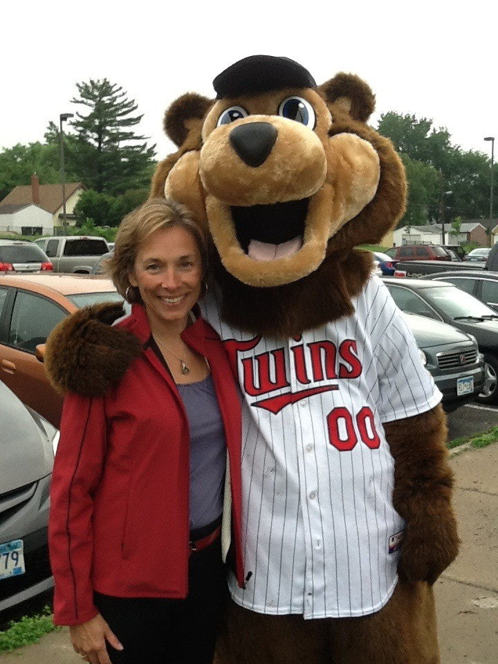Sue with Twins Mascot TC Bear