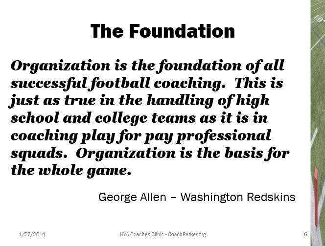 Key to Winning is Organization and Planning
