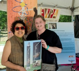 A famous artist and I meet over the making of public art. She used my toad photo as inspiration.This was opening day of the parkway and it was HOT.