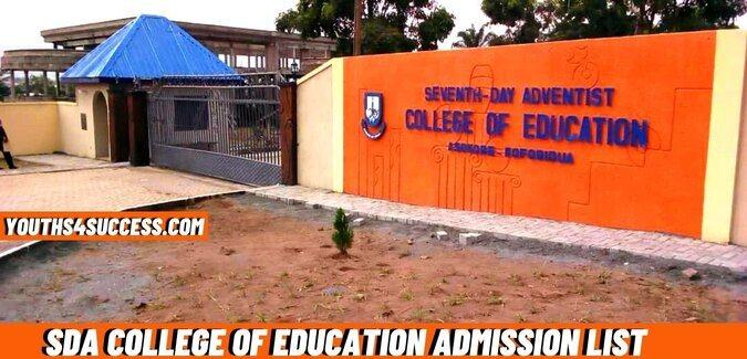 SDA College Of Education admission list