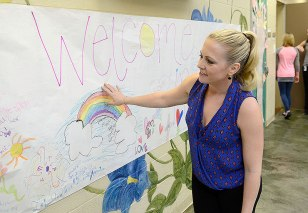 The girls of the Youth Villages Girls Center for Residential Treatment made a banner to welcome Hart on her visit.