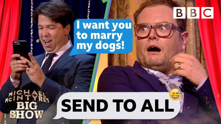 Alan Carr can't handle Michael McIntyre's absurd dog wedding text prank