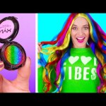 RAINBOW Hacks and Crafts || Cool Girly and Beauty Hacks by 123 Go Like!