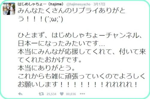 はじめしゃちょーの登録者数日本一にヒカキンがコメント!他皆の反応まとめ