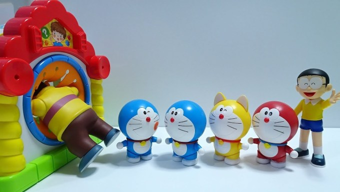 Doraemon go into Spo Spo Box!Gian come out like Spon Spon!wrong face!for kids!yupyon
