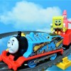 SpongeBob,Patrick,Squidward and Mr.Krabs are riding and falling on Thomas!for kids!yupyon