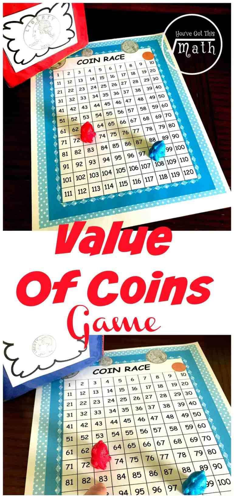 This fun money game gets little ones to practice coin recognition and coin values as they race to be the first to get to 100.