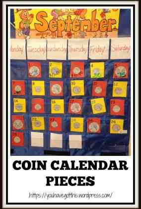 coin calendar pieces