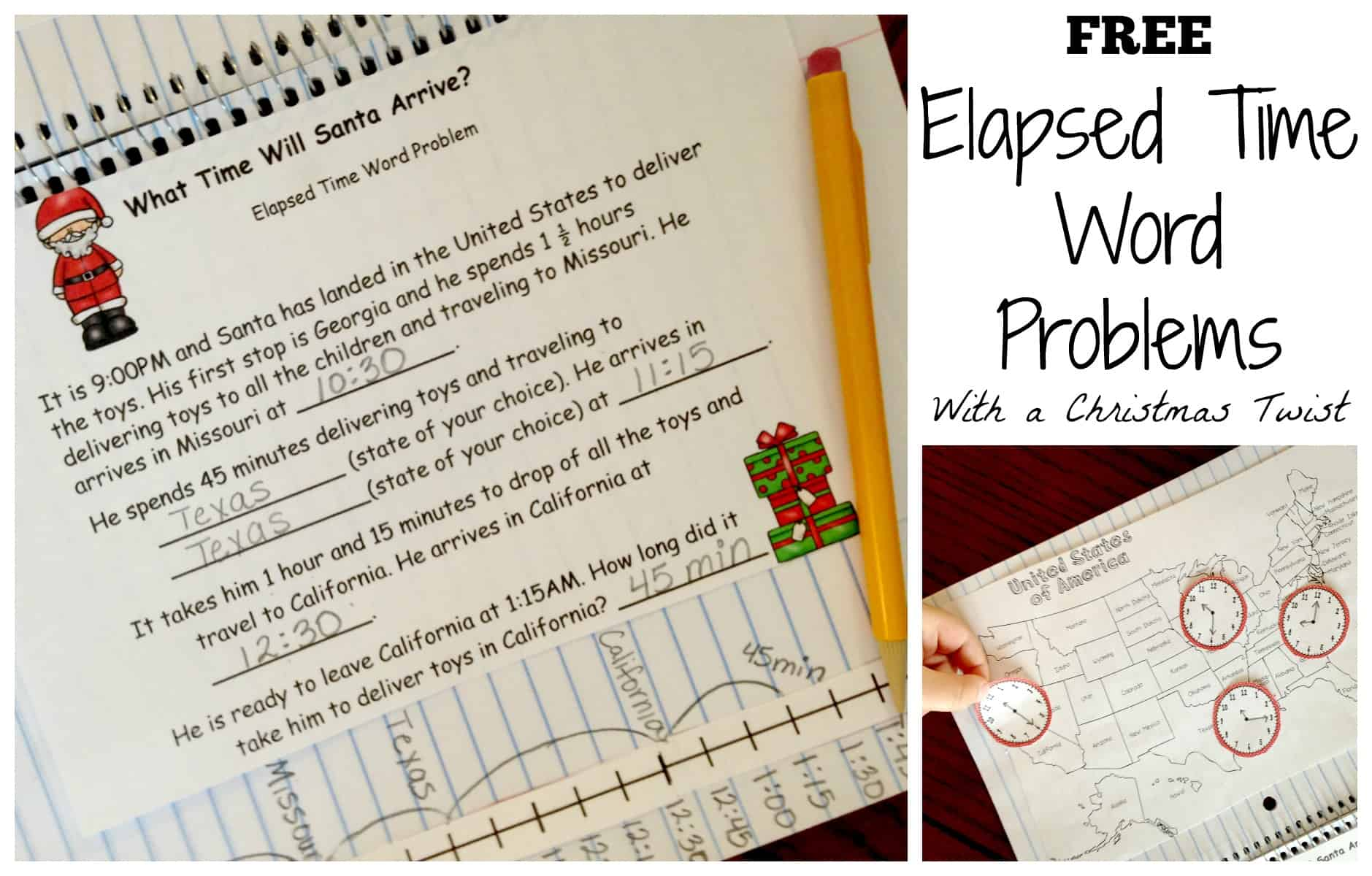 Here S A Free Elapsed Time Word Problem With A Christmas Twist