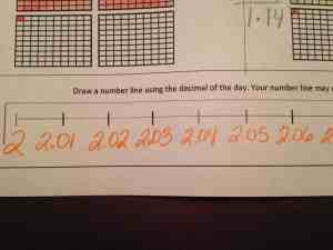 This was an easier one. The student was able to start with 2 and then move up the number line by hundredths.