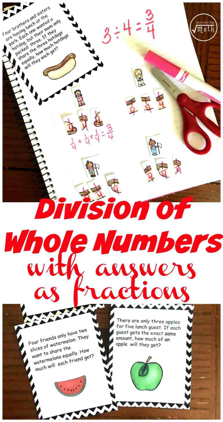 Here is a FREE interactive notebook to help you teach division of whole numbers leading to answers with fractions in a fun, hands-on way.
