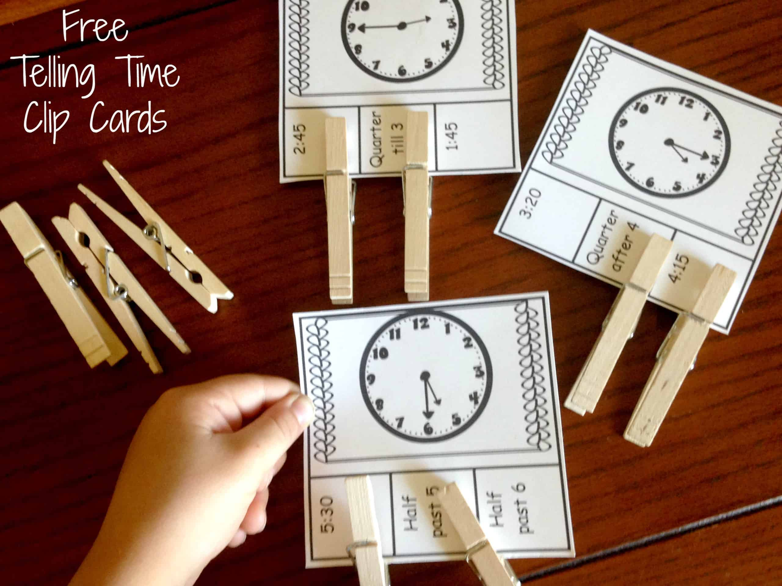 20 Telling Time Clip Cards For Clock Learning For Kids