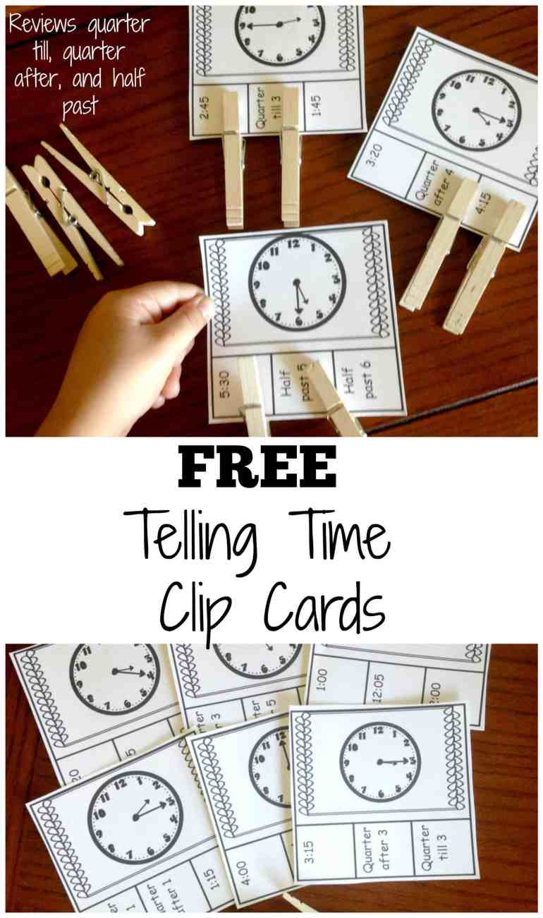 Are you looking for some clock learning for kids? These clip cards have analog clocks and the children have to figure out the time as well as the sayings that go with it. For example, they may have to place clips on half-past 6 and 6:30.