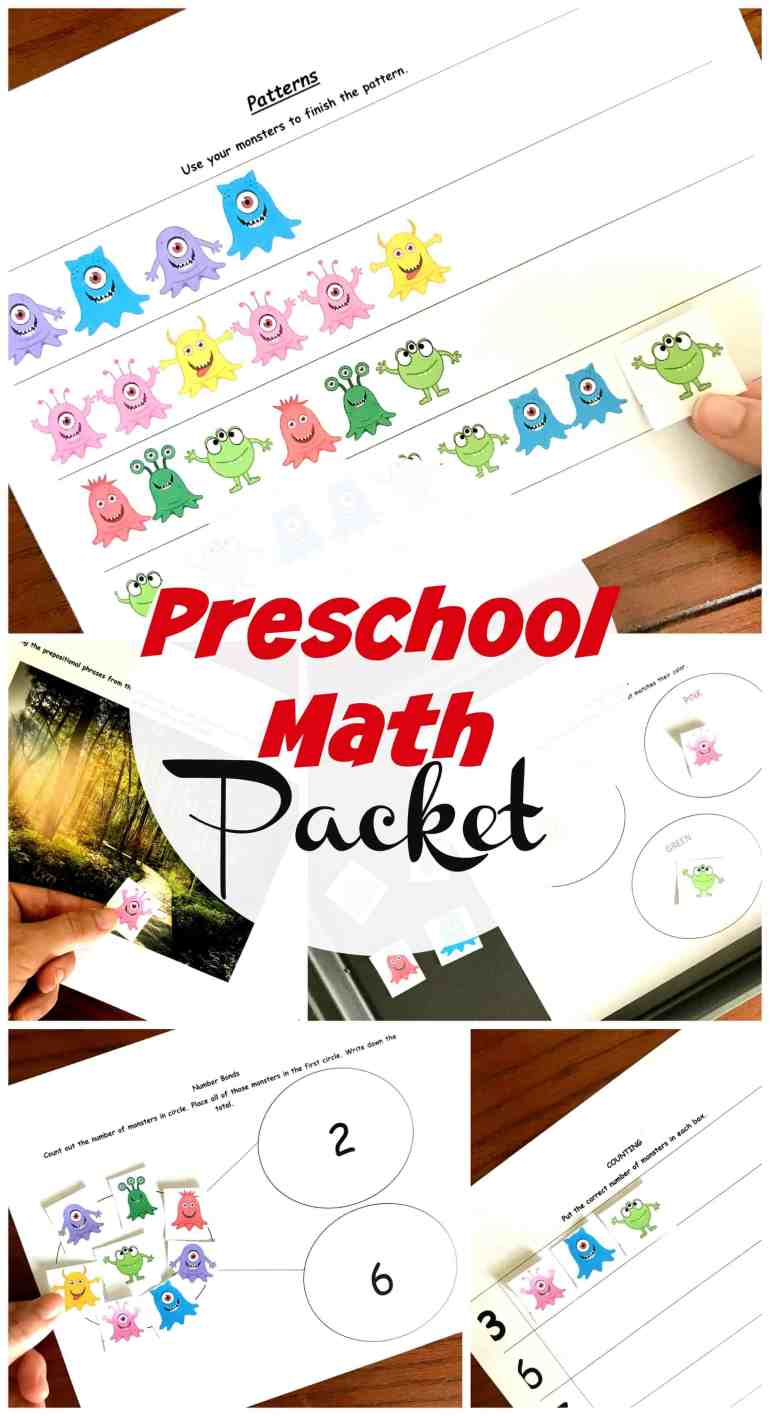 These preschool math worksheets are a fun way to practice number recognition, sorting, patterns, prepositions, and basic adding and subtracting. (Number Bonds)