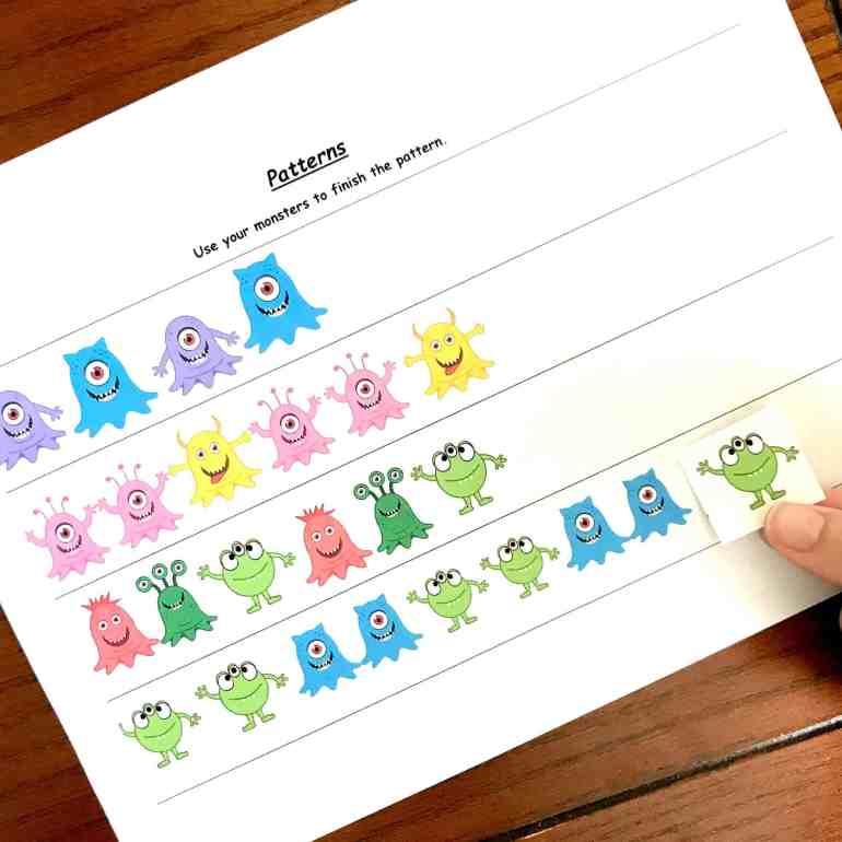 5 preschool math worksheets to practice patterns sorting. Black Bedroom Furniture Sets. Home Design Ideas