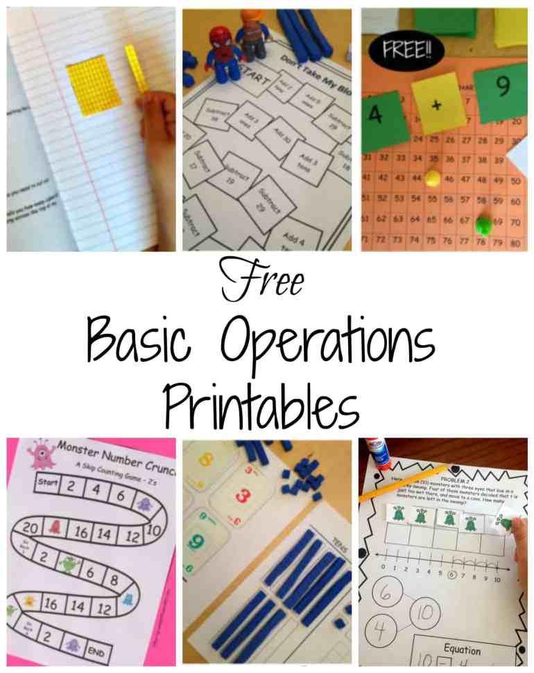 Free Basic Operations printables