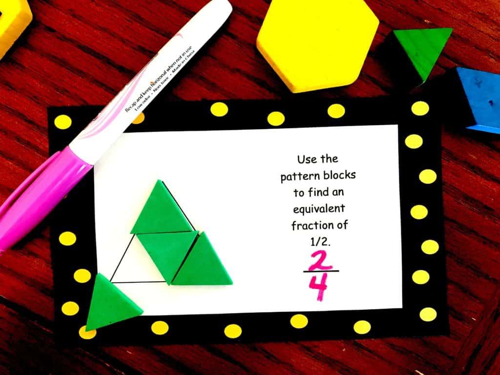 Free Equivalent Fraction Pattern Block Task Cards