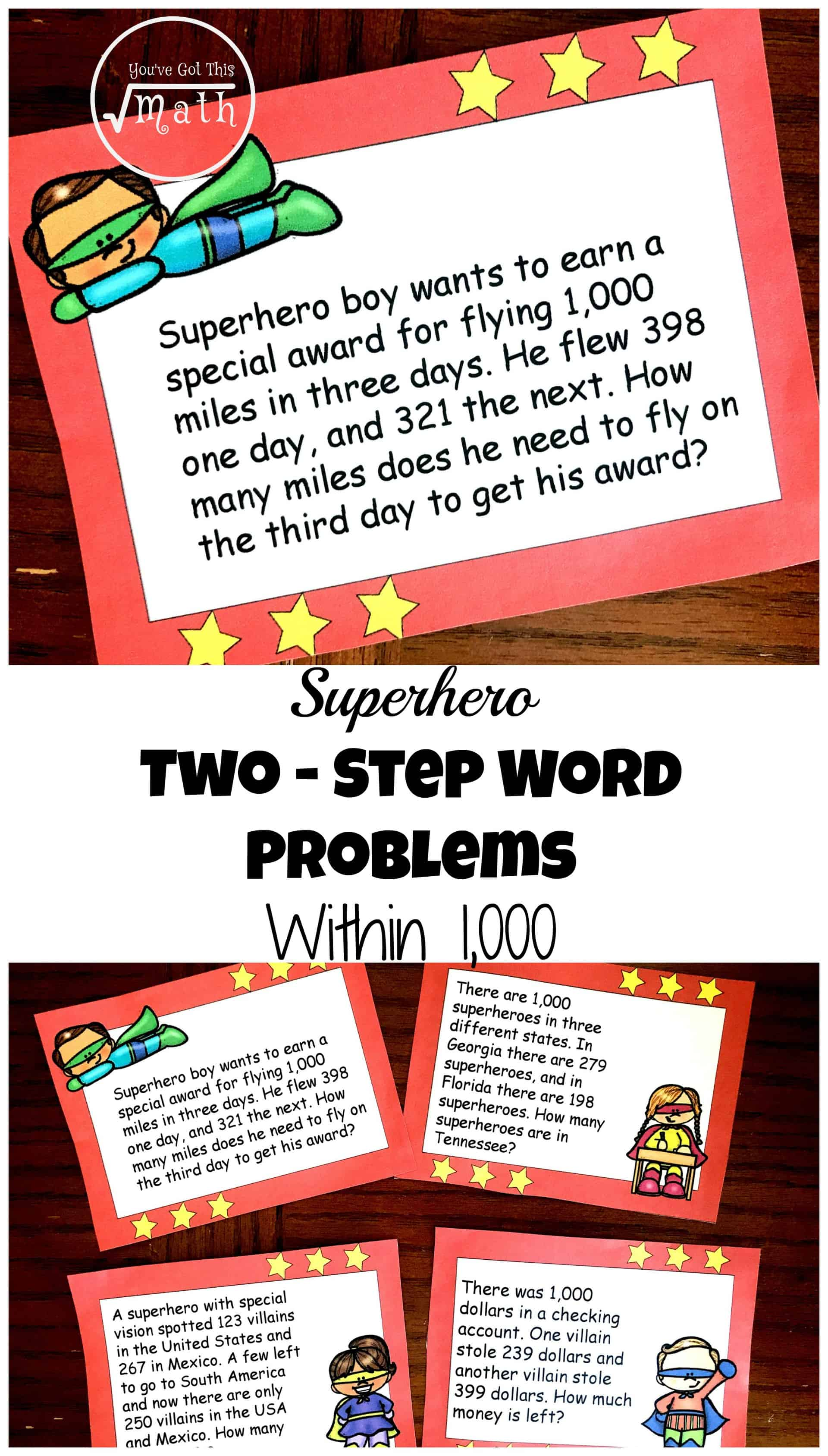 Grab these superhero two-step word problems worksheet that focus on adding and subtracting within 1000. The fun superhero theme adds excitement to the task.