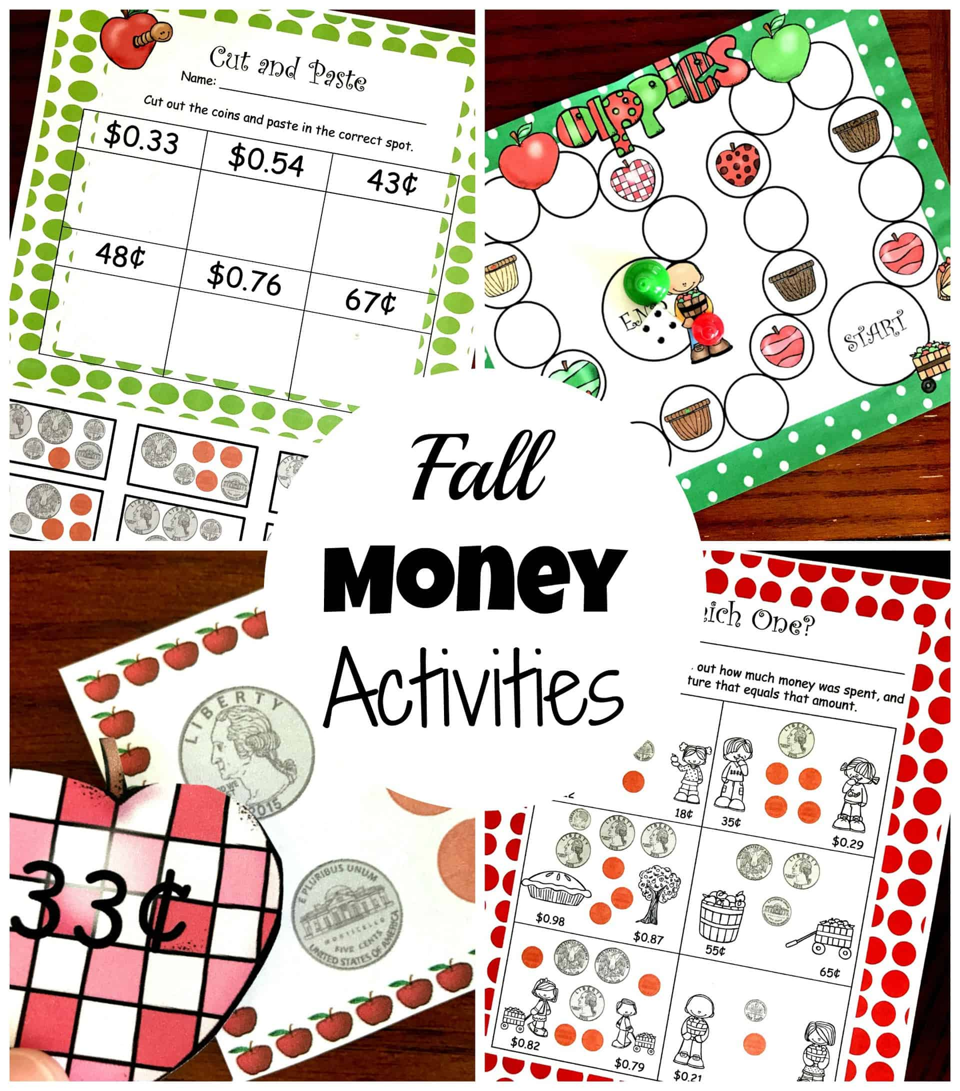 Fall Counting Coins Packet
