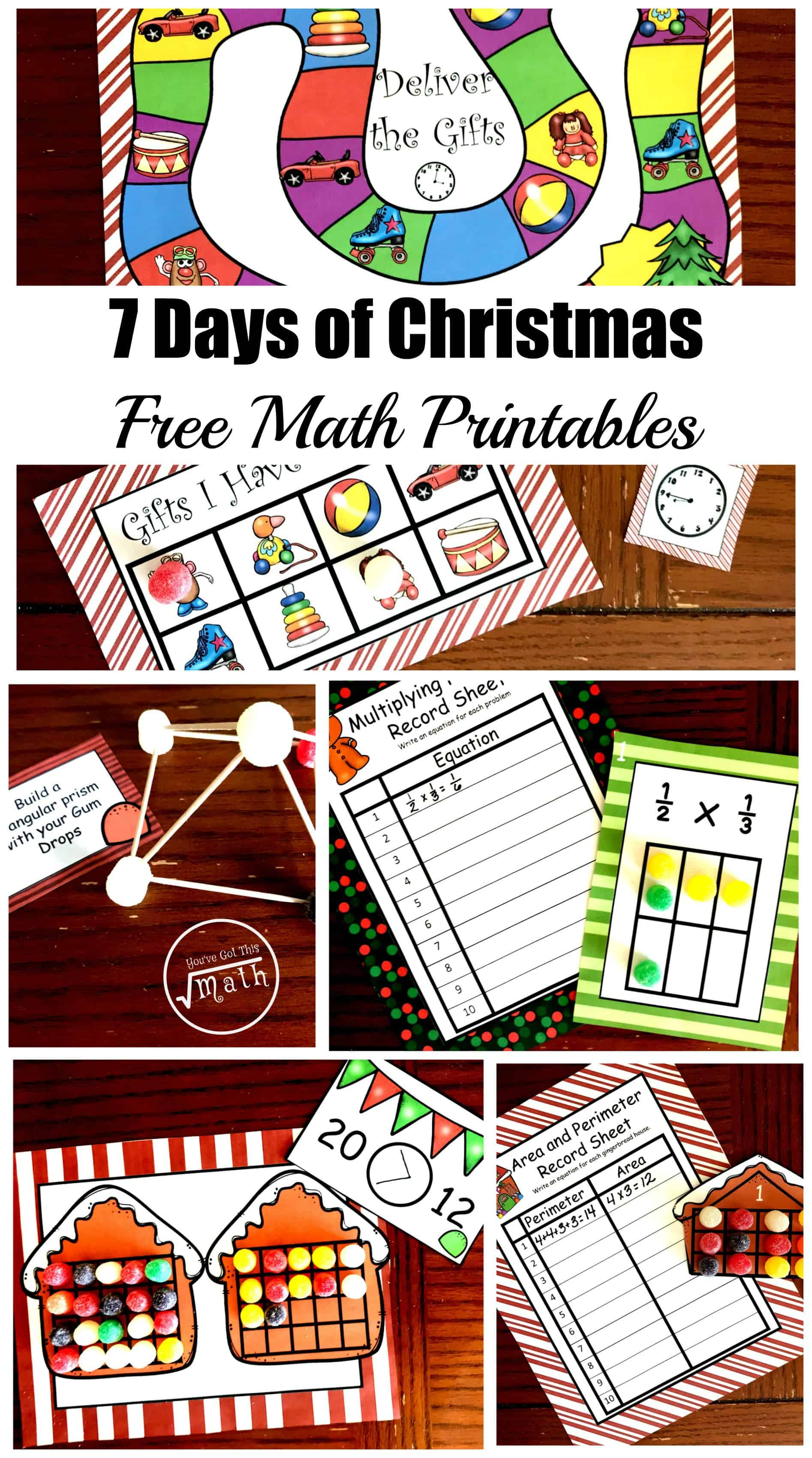 I want to say Merry Christmas to you by providing you with 7 days of free Christmas Math Printables for kindergarten through fifth grade.
