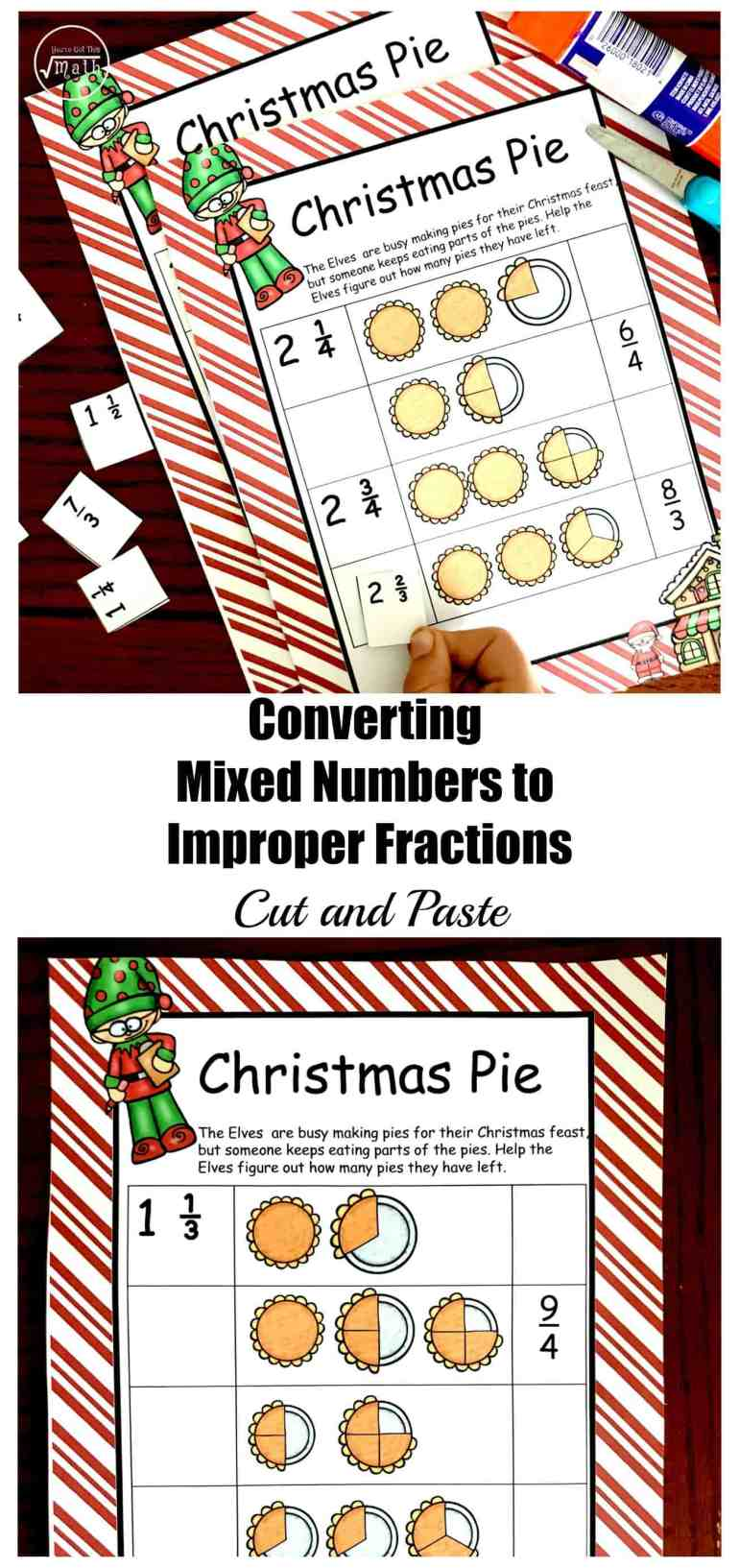 This free Cut and Paste Converting Mixed Numbers To Improper Fractions Worksheet helps children visualize this skill while having fun.