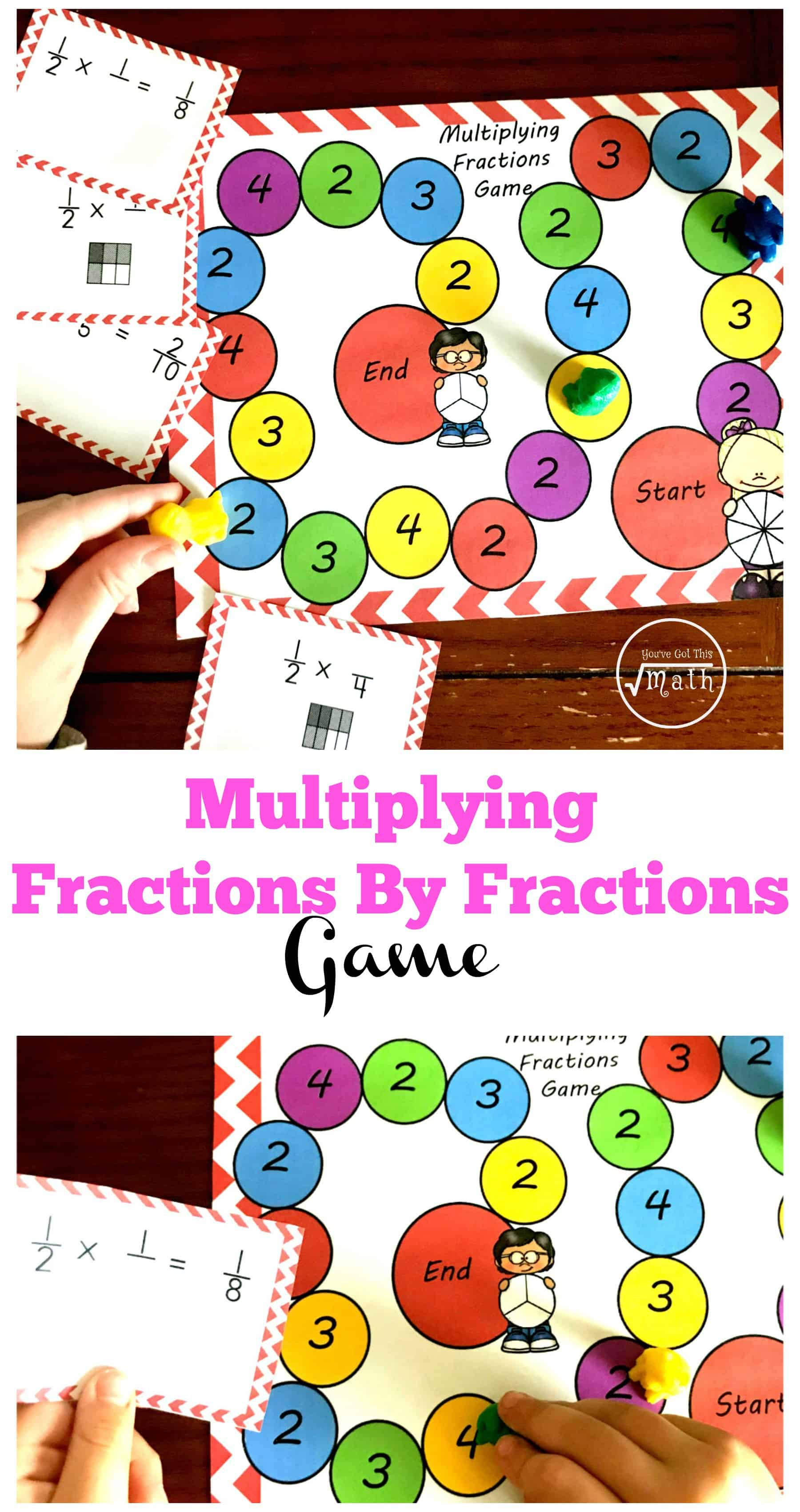 This FREE printable fraction game is a great way to practice solving fractions by fraction multiplication problems. There are simple expressions to solve, and there are some problems that require students to solve using an area model.