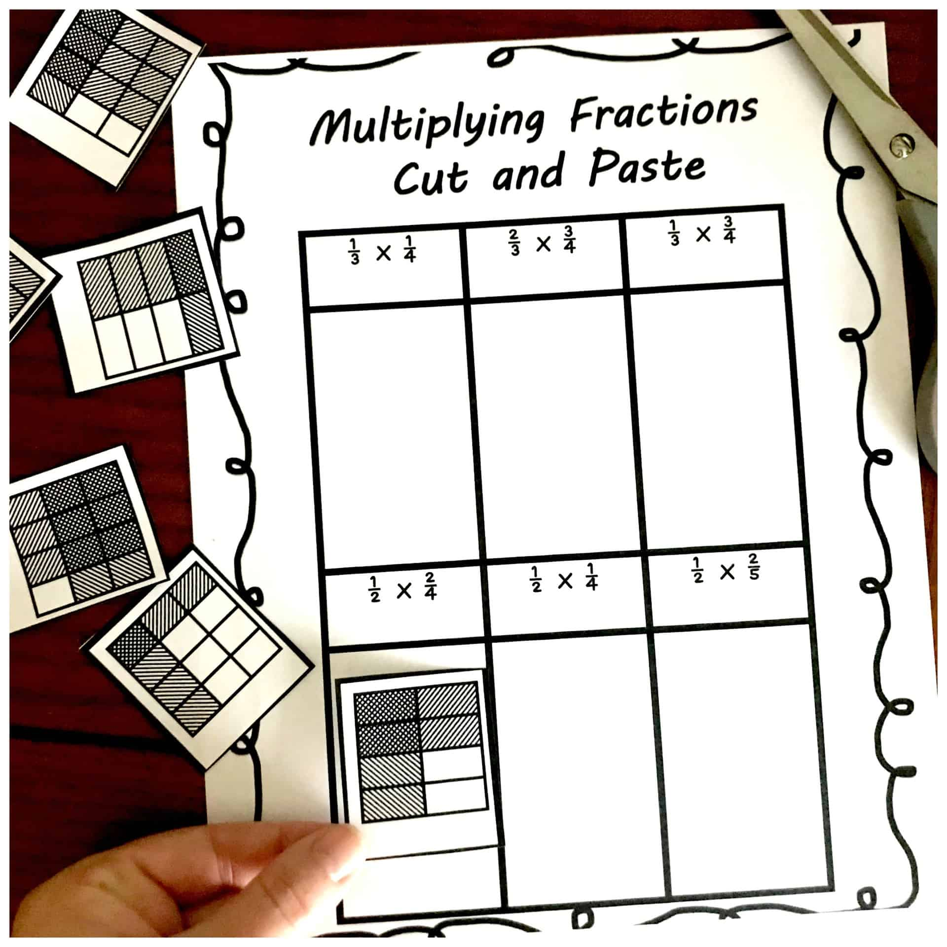 Fractions Cut And Paste Worksheet