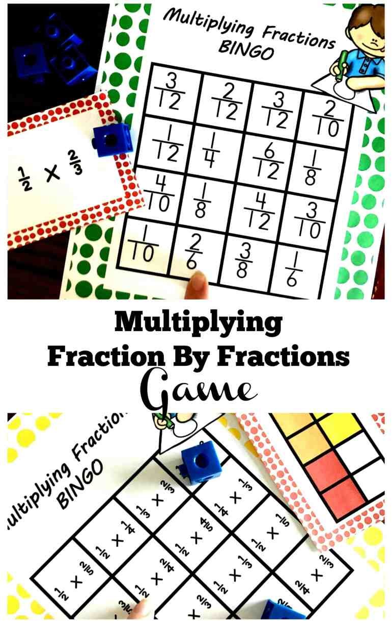 This free multiplying fractions game is a fun way to practice this skill. Children solve expressions and area models and then find the answer on the BINGO card.