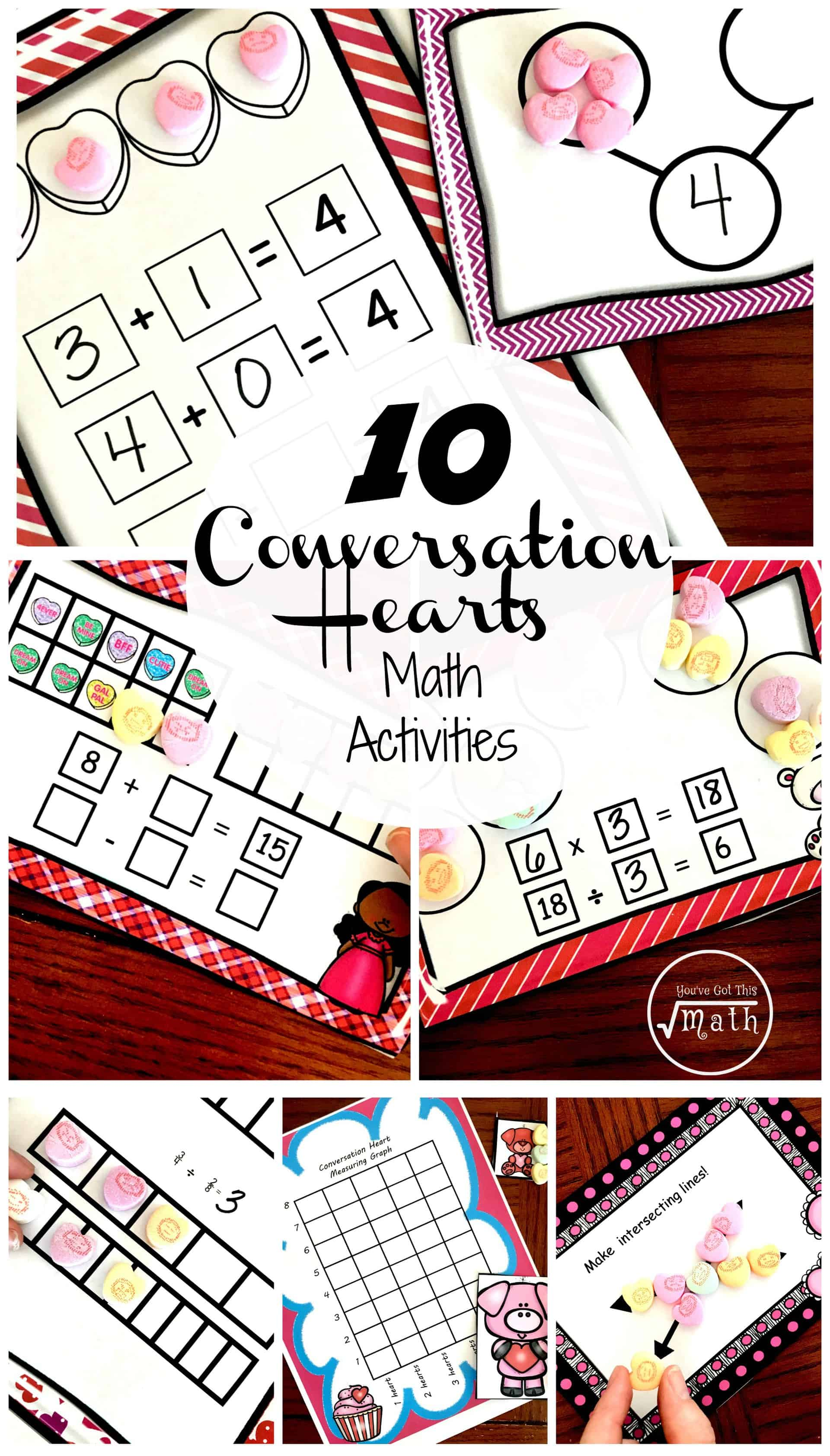 10 Valentine Math Activities Using Conversation Hearts For K