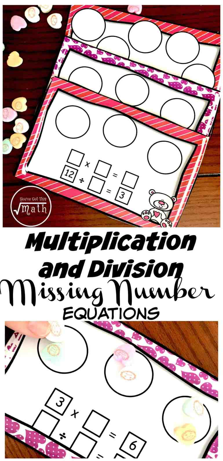 These missing factor worksheets or task cards use conversation hearts to help children solve equations with missing factors, dividends, and divisors.
