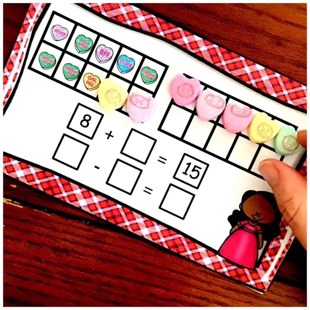 10 Valentine Math Activities Using Conversation Hearts For K